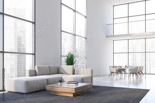 Obraz na plátně White living room and dining room corner