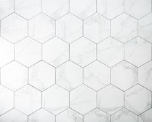 Tiles. A White Marble Wall Wit...