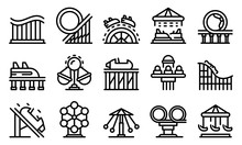 Roller Coaster Icons Set. Outl...