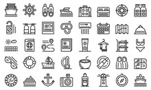 Cruise Icons Set. Outline Set Of Cruise Vector Icons For Web Design Isolated On White Background