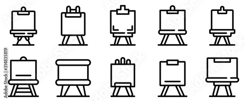Photo  Easel icons set