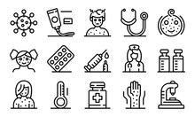 Chicken Pox Icons Set. Outline...