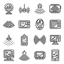 Echo Sounder Icons Set. Outlin...