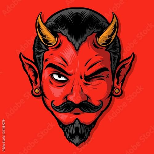 Carta da parati wicked red devil logo illustration