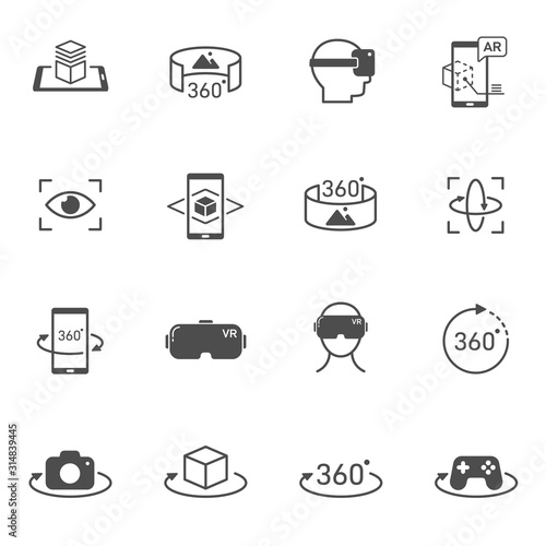 Photo Virtual and augmented reality vector icons set isolated on white background