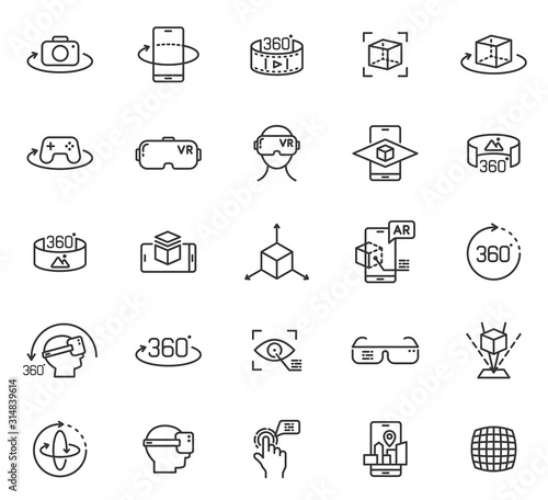 Photo Virtual and augmented reality outline vector icons isolated on white background