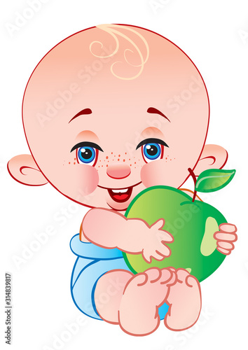 Платно cute bald baby sitting in a blue diaper and holding a big green apple in his han