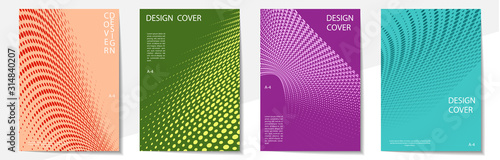 Obraz Geometric cover design templates A-4 format. Editable set of layouts for covers of books, magazines, notebooks, albums, booklets. Modern colors. - fototapety do salonu