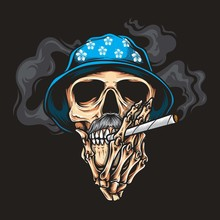 Skull Smoking Vector Logo Illu...