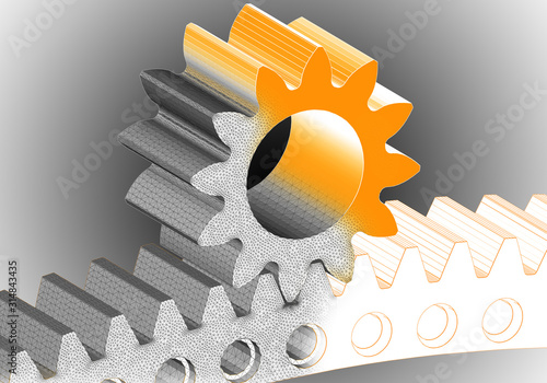 Gear and cogwheel 3D solid finite element mesh on black and white gradient backr Canvas Print