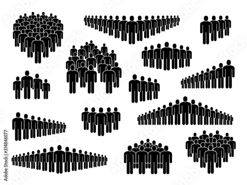 Fototapeta People group icons. Big crowd sign, corporate business employees, persons symbols for population infographics, user signs vector set obraz