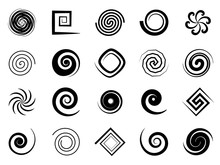 Spiral Swirls. Speed Circular Symbol, Twisted Swirl Elements, Psychedelic Hypnosis Symbols, Modern Texture Art Logo Vector Signs