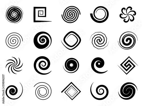 Obraz Spiral swirls. Speed circular symbol, twisted swirl elements, psychedelic hypnosis symbols, modern texture art logo vector signs - fototapety do salonu