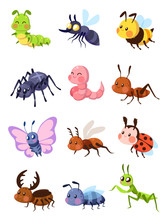 Cartoon Insects. Cute Grasshop...