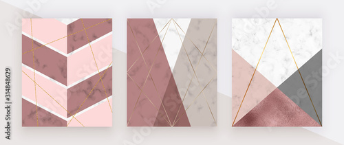 Cuadros en Lienzo Geometric cover with pink, rose gold and grey triangular shapes, golden lines on the white marble texture
