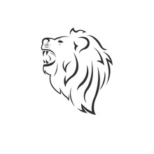 Vector Lion Head Black And Whi...