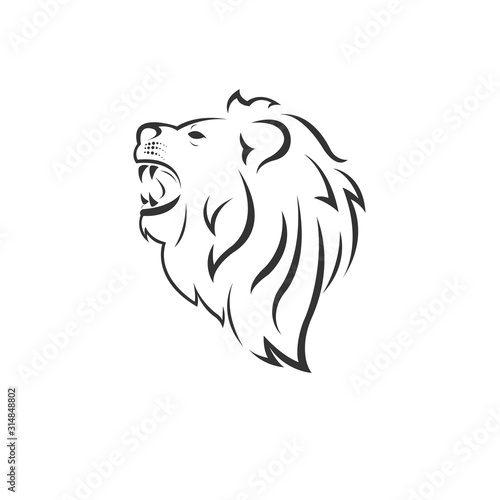 Photo Vector Lion Head Black and White Logo, Sign, Design