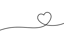 Valentines Card With Line Art Drawing Of Simple Heart Sign.