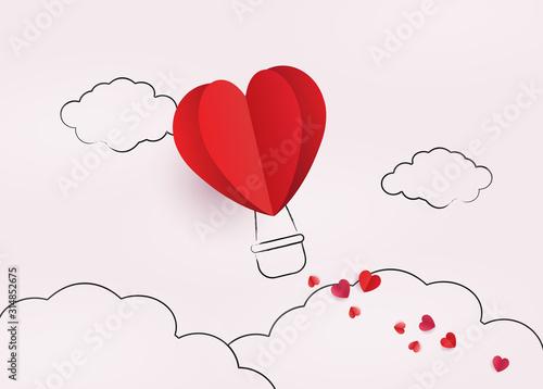Fototapeta Love and valentine day. Heart air balloon. obraz
