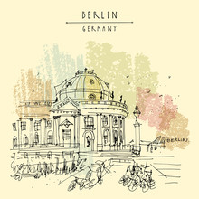 Berlin, Germany, Europe. Museum Island, River Spree, Bode Museum. Freehand Drawing. Travel Sketch. Vintage Touristic Postcard, Poster, Book Illustration