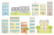 eine Gruppe von verschiedenen Häusern, Vektor, Freisteller – Neutraler Hintergrund,