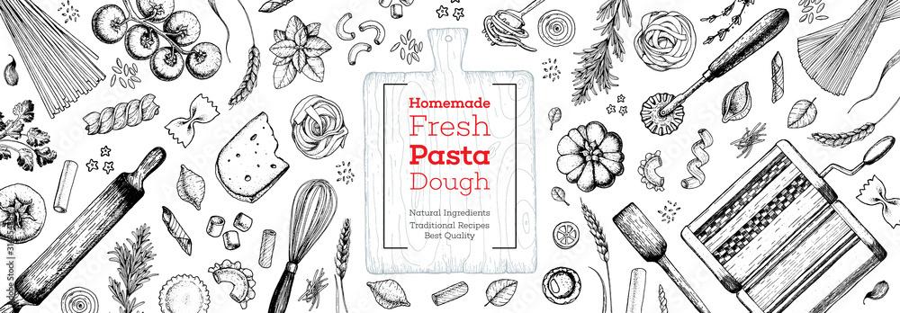 Fototapeta Cooking italian pasta top view frame. Hand drawn vector illustration. Italian food design template. Engraved sketch style. Italian cuisine frame. Food menu design elements.