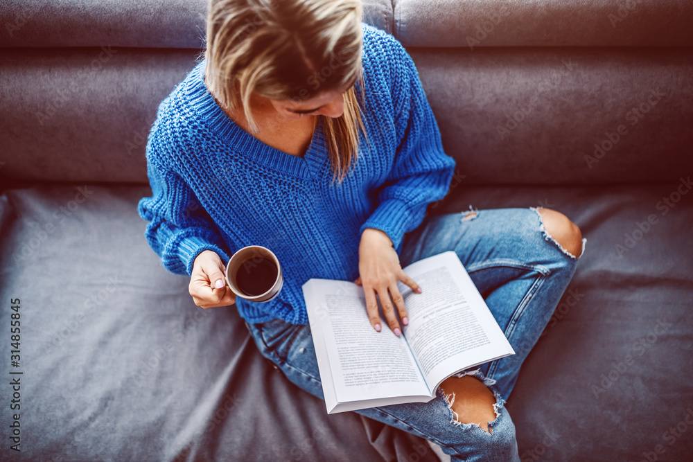 Fototapeta Top view of blond caucasian young woman in sweater sitting on sofa in living room, drinking coffee and reading book.