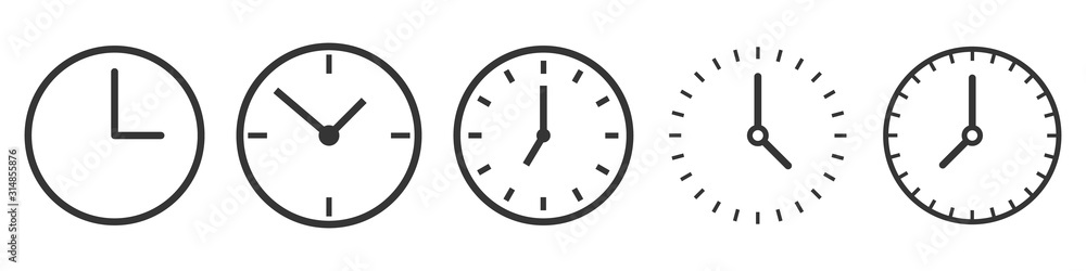 Fototapeta Vector Time and Clock icons in thin line style.