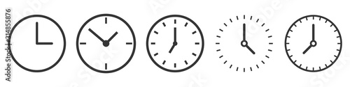 Photo Vector Time and Clock icons in thin line style.