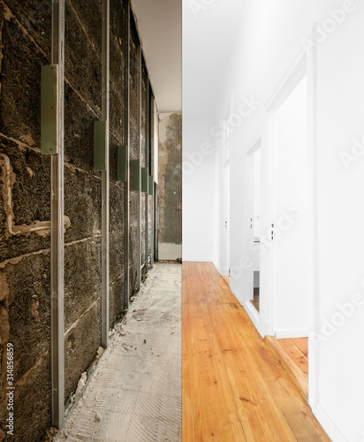 flat renovation, home interior before and after modernization -