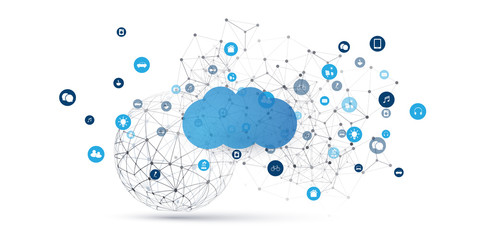 Cloud Computing Design Concept - Digital Connections, Technology Background with Wireframe Sphere and Geometric Network Mesh