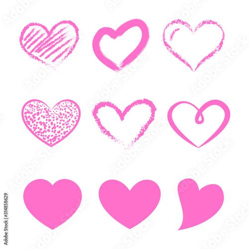 Fototapeta Walentynki - zestaw różowych serc obraz