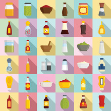 Condiment Icons Set. Flat Set Of Condiment Vector Icons For Web Design