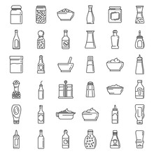 Condiment Food Icons Set. Outline Set Of Condiment Food Vector Icons For Web Design Isolated On White Background