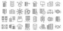 Data Center Icons Set. Outline...