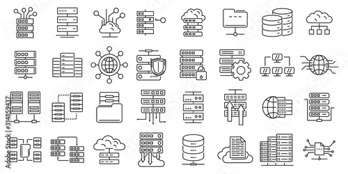 Fototapeta Data center icons set. Outline set of data center vector icons for web design isolated on white background obraz