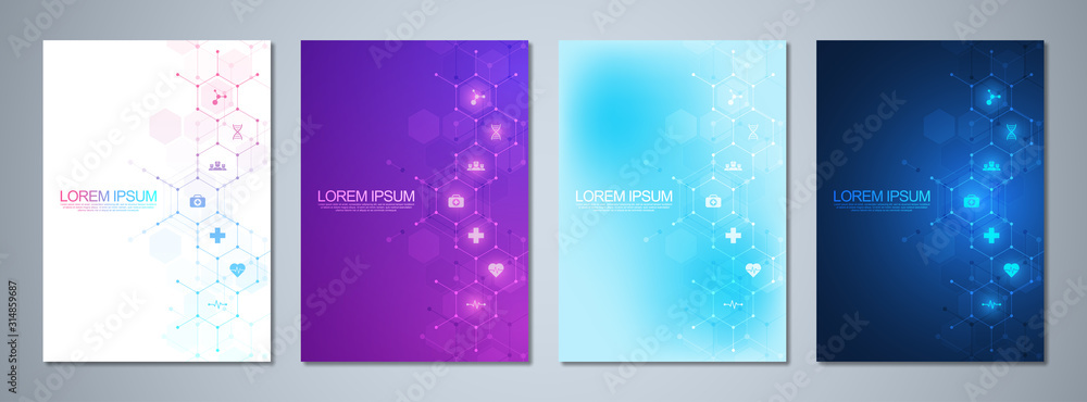 Fototapeta Set of template brochures or cover book, page layout, flyer design. Concept and idea for health care business, innovation medicine, pharmacy, technology. Medical background with flat icons and symbols