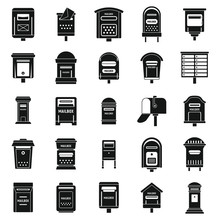 Mailbox Postal Icons Set. Simple Set Of Mailbox Postal Vector Icons For Web Design On White Background