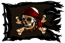 Skull And Bones On A Pirate Flag
