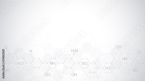 Abstract chemistry pattern on soft gray background with chemical formulas and molecular structures Wallpaper Mural
