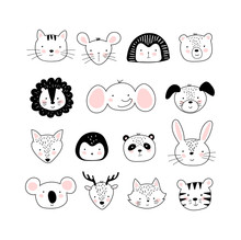 Set Of Cute Portraits Of Different Animals In A Scandinavian Black And White Style. Doodle Drawings Of Animals. Elephant, Koala, Dog, Cat, Lion, Rabbit, Deer. Vector Illustration