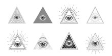 All Seeing Eye, Freemason Symbol In Triangle With Light Ray, Tattoo Design