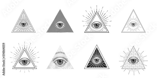 Fototapeta All seeing eye, freemason symbol in triangle with light ray, tattoo design obraz