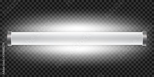 Obraz Realistic bright 3d long luminescence light lamp, white illuminated fluorescent tube isolated on transparent background – stock vector - fototapety do salonu