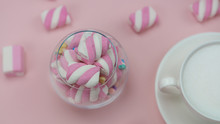 Pink Marshmallows With A Delicious Hot Drink. Little Girl's Breakfast.