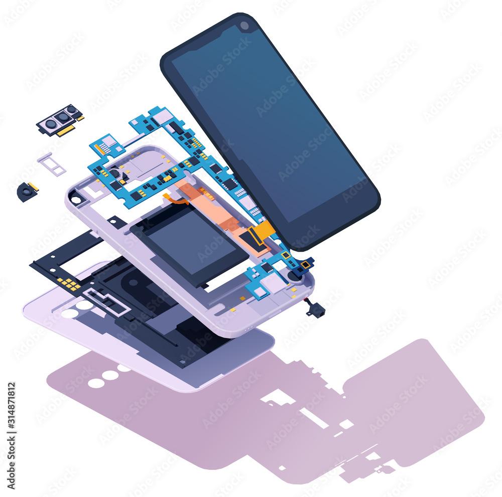 Fototapeta Vector isometric disassembled smartphone. Modern smartphone exploded view. Phone disassembly, teardown, or repair