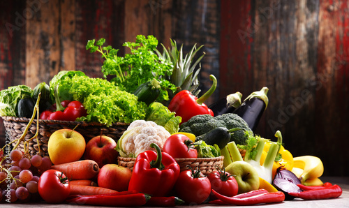 Composition with assorted organic vegetables and fruits