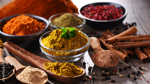 Fotografie, Obraz  Variety of spices on kitchen table