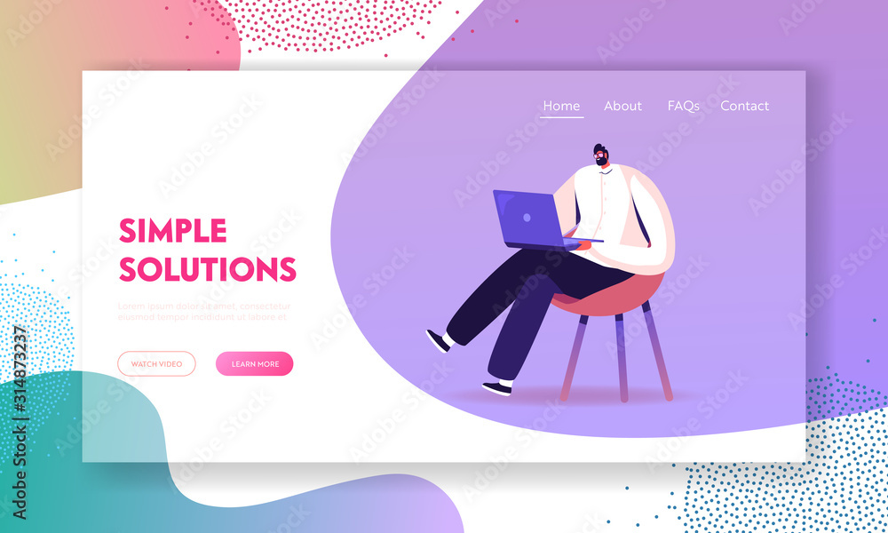 Fototapeta Young Business Man Sitting on Chair Working on Laptop Website Landing Page. Freelancer Work Remotely at Home or Coworking Place Using Smart Device. Web Page Banner. Cartoon Flat Vector Illustration