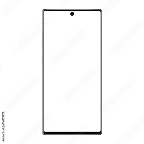 Photo Modern frameless smartphone mockup with blank screen isolated on white background